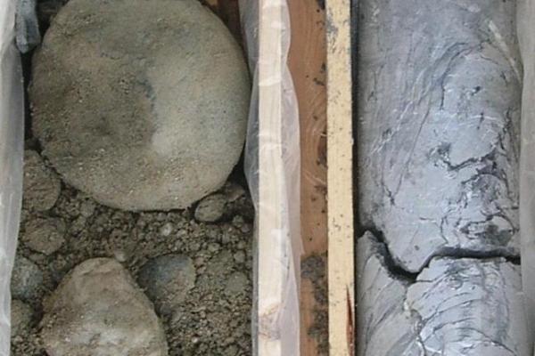 Bohrkern im Übergangsbereich quartärer Sedimente zu paläozoischen Kalken  .jpeg